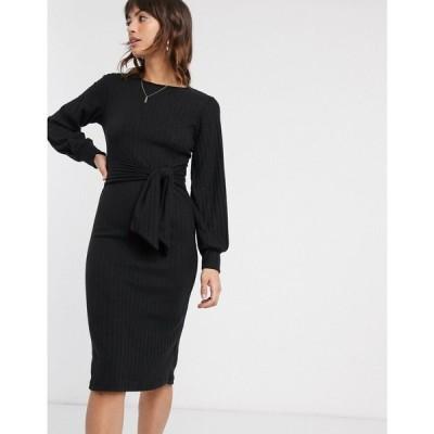 リバーアイランド River Island レディース ワンピース ミドル丈 ワンピース・ドレス long sleeved ribbed midi dress with belt in black ブラック