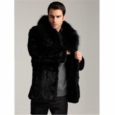 美品♪ 毛皮コート 人気 上質 コート 上着 ジャケット 男性用 ファーコート メンズ ショートコート アウター 暖かい 冬物 長袖 防寒 防風
