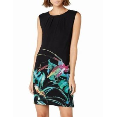 Desigual デシグアル ファッション ドレス Desigual Womens Black Size XXS Bird Print Pleat-Neck Shift Dress