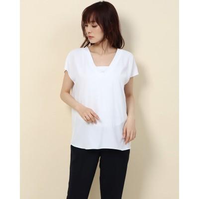 リネーム Rename Vネックフレンチスリーブシャツ (ホワイト)