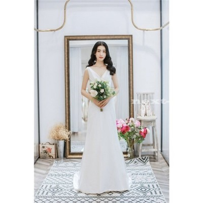 ウエディングドレス 購入 ノースリーブ 白 二次会 安い エンパイア 花嫁 フォトウエディング ビーチフォト 前撮り 後撮り