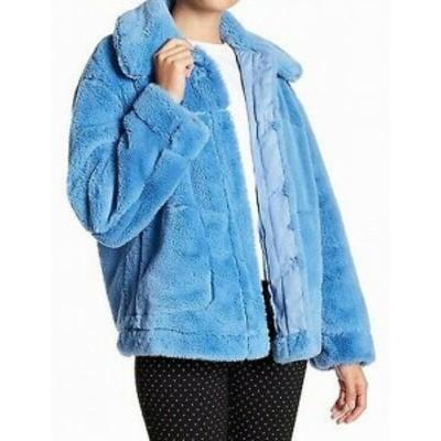 Republic  ファッション 衣類 Urban Republic Womens Sky Blue Large L Faux-Fur Snap-Front Jacket