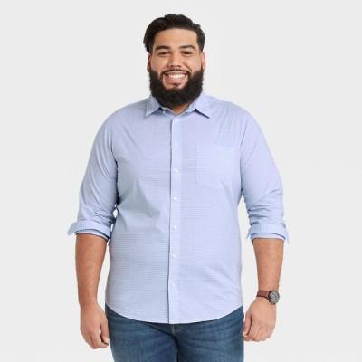 グッドフェロー Goodfellow & Co メンズ シャツ 大きいサイズ Big & Tall Standard Fit Stretch Poplin Long Sleeve Button-Down Shirt - Amparo Blue