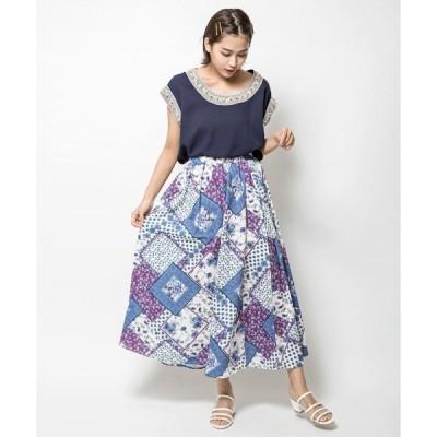 【STYLE4】スカーフパネルプリントスカート