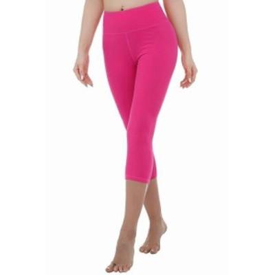 Activewear  ファッション パンツ Nihoe Womens Activewear Leggings Pink Large L Cropped Capri High-Waist #995
