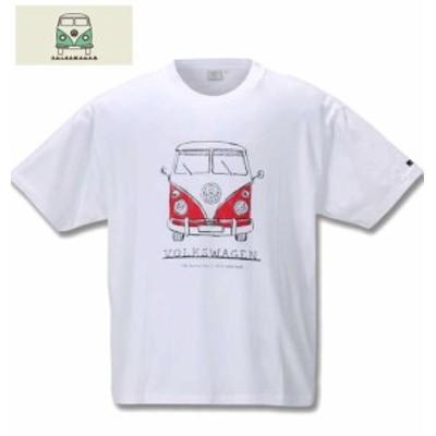 [取り寄せ]大きいサイズ VOLKSWAGEN 半袖Tシャツ ホワイト 3L 4L 5L 6L 8L/1268-0220-1-35