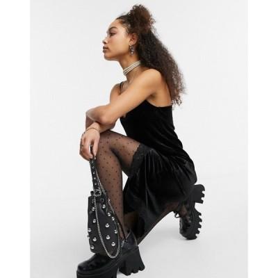 ノイズィーメイ Noisy May レディース ワンピース スリップドレス ミドル丈 ワンピース・ドレス midi slip dress with lace hem in black ブラック