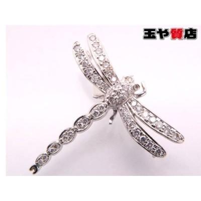 ダイヤ0.56ct 美品 トンボ ブローチ K18WG ホワイトゴールド