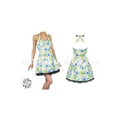 ハーツアンドローズロンドン ドレス ワンピース ハートs and ローズs London イエロー フローラル Tropical Hawaii Rockabilly ピンナップ ミニ Dres