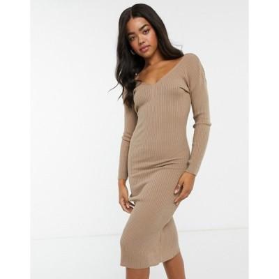 インザスタイル レディース ワンピース トップス In The Style x Billie Faiers plunge front knitted midi dress in mocha