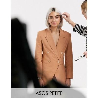 エイソスプチ レディース ジャケット&ブルゾン アウター ASOS DESIGN Petite ultimate linen suit blazer Plaster