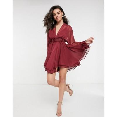 エイソス ASOS DESIGN レディース ワンピース レースアップ ミニ丈 mini dress with smocked satin waist and lace up back detail in Berry ベリー