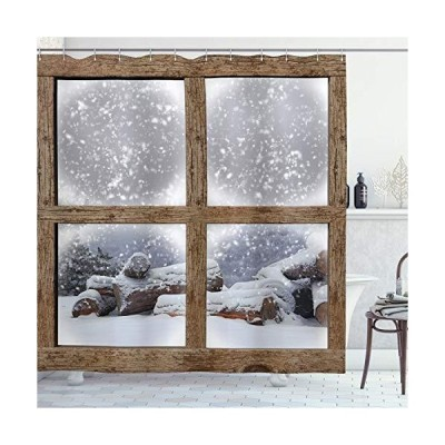 Ambesonne Winter Shower Curtain Rustic Snowy Woodsy Frame Window View Print