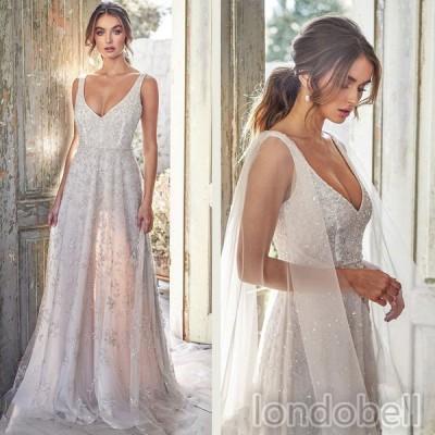 2020新品 Vネック ワンピース ノースリーブ ロングドレス パーティードレス カラードレス イブニングドレス 結婚式 二次会 花嫁ドレス お呼ばれ 演奏会 披露宴