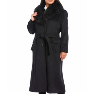 カルバンクライン レディース コート アウター Plus Size Faux Fur Collar Wool Blend Belted Maxi Coat Black
