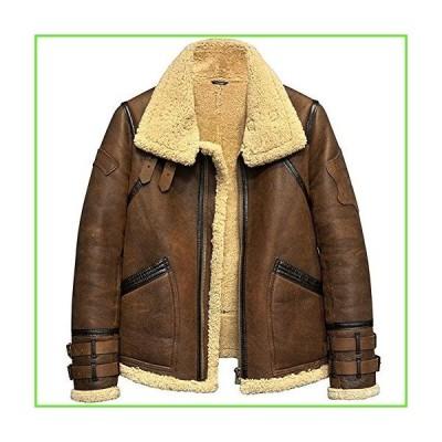Men's Shearling Jacket B3 Flight Jacket Fur Leather Jacket Imported Wool from Australia Men's Sheepskin Aviator Coat (L, Brown)【並行輸