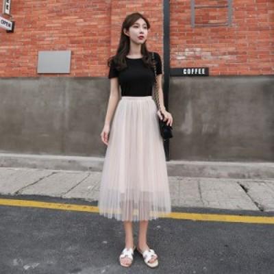 スカート 2020年 春 プリーツスカート 妖精 スカート ひざ丈 かわいい おしゃれ 人気