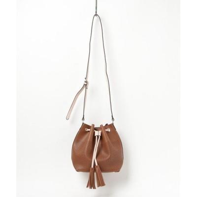 【アイモハ】 巾着ショルダーバッグ バッグ 鞄 レディース ショルダーバッグ レディース ブラウン FREE aimoha