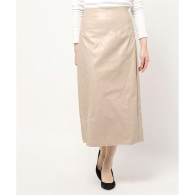スカート 裾スリットミモレ丈ストレートスカート