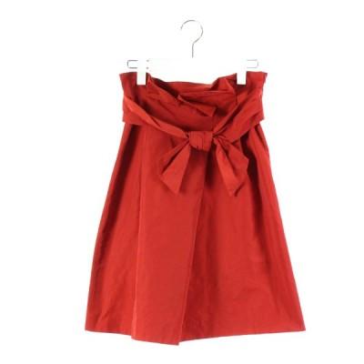 【中古】ストロベリーフィールズ STRAWBERRY-FIELDS スカート フレア 膝丈 リボン 赤 1 /DK43 レディース 【ベクトル 古着】