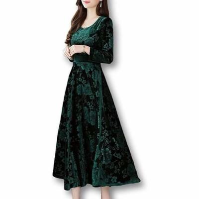 ルクシア フィル レディース ドレス 2XL 大きい サイズ 丈長め 柄(グリーン  2XL(日本サイズXL))