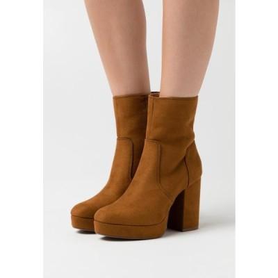 レディース ブーツ ONLBRIN LIFE SHAFT BOOTIE - High heeled ankle boots - cognac