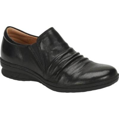 コンフォーティバ スリッポン・ローファー シューズ レディース Florian Slip-On (Women's) Black Smooth Leather