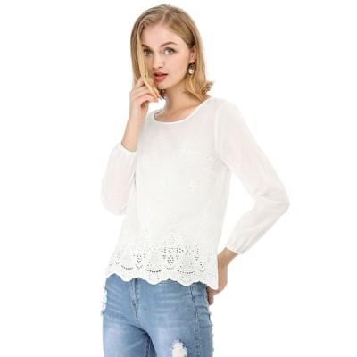 uxcell Allegra K かぎ針編み ブラウス トップス 長袖 透け感 刺繍 カジュアル オフィス レディース ホワイト S