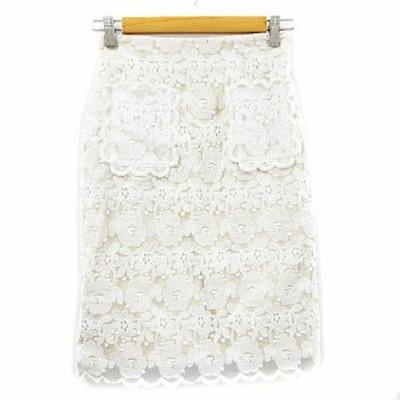 【中古】コルテスワークス CORTES WORKS スカート タイト ひざ丈 刺繍 レース 花柄 スカラップ 36 白 ホワイト /AAM36