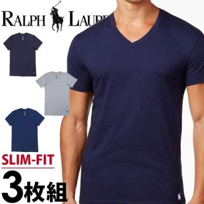 ポロ ラルフローレン メンズ スリムフィット コットン Vネック 半袖 Tシャツ 3枚セット ネイビー ブルー グレー POLO RALPH LAUREN p646u2o LSVN RSVNP3