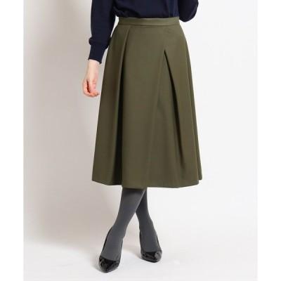 スカート 【洗える】ストレッチタックフレアスカート