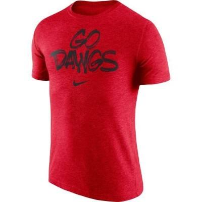 ナイキ メンズ Tシャツ トップス Nike Men's Georgia Bulldogs Red 'Go Dawgs' Tri-Blend Verbiage T-Shirt