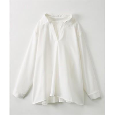 バックオープン風スキッパーシャツ (ブラウス)Blouses, Shirts, テレワーク, 在宅, リモート