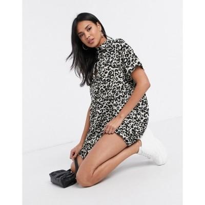 ミスガイデッド レディース ワンピース トップス Missguided smock shirt dress in gray leopard print