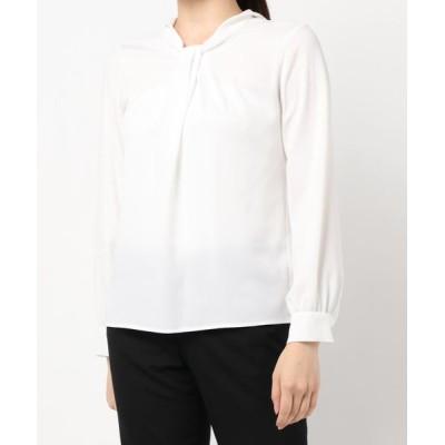 White Collection / タックボウタイ風デザイン・長袖ジョーゼットブラウス WOMEN トップス > シャツ/ブラウス