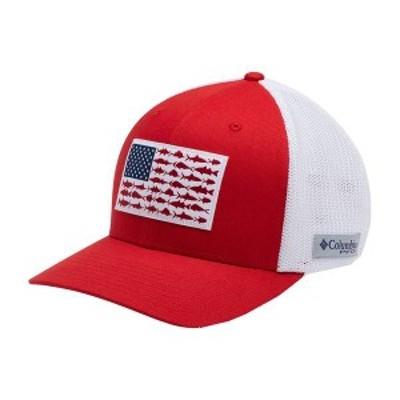 コロンビア メンズ 帽子 アクセサリー Columbia Men's Mesh Fish Flag Cap Red Spark/White/Us Fish
