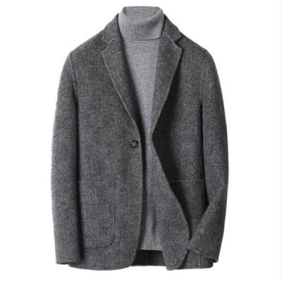 SALE! テーラードジャケット メンズ シングルコート ブレザー スーツ アウター 通勤 秋冬 体型カバー チェスター ハーフ丈 紳士用 ウール ビジネスマン