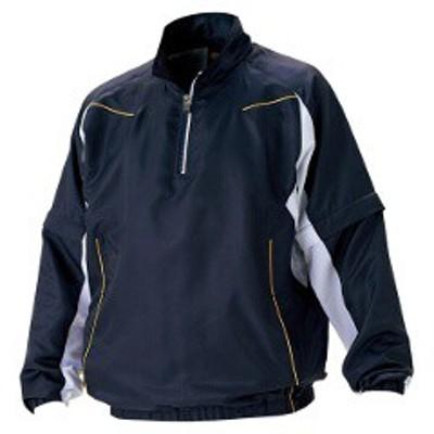 ゼット ZETT 野球用 長袖/半袖切り替え式ハーフジップジャンパー [カラー:ネイビー×ホワイト] [サイズ:O] #BOV515