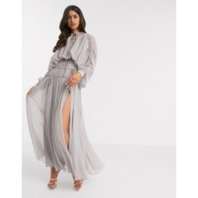 エイソス レディース ワンピース トップス ASOS DESIGN shirred waist maxi dress with satin cuff Dusty mauve