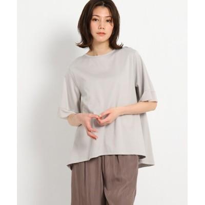 tシャツ Tシャツ 【XS〜L/洗える/日本製】 美光沢 シルケットスムースAラインカットソー