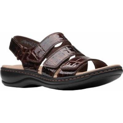 クラークス レディース サンダル シューズ Women's Clarks Leisa Melinda Slingback Sandal Brown Patent Croco Leather