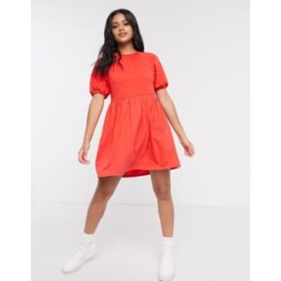 エイソス レディース ワンピース トップス ASOS DESIGN mini smock dress with gathered neck in red Red