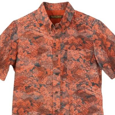 着物シャツ アロハシャツ Lサイズ メンズ 紬 着物アロハ 和柄シャツ クールビズ 和柄 ボタンダウン 赤色 レッド 花柄