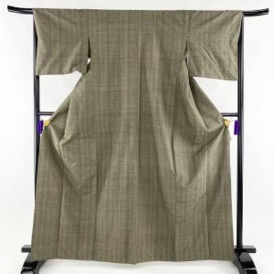 紬 秀品 縦縞 幾何学 茶緑色 袷 身丈165.5cm 裄丈65.5cm M 正絹 中古