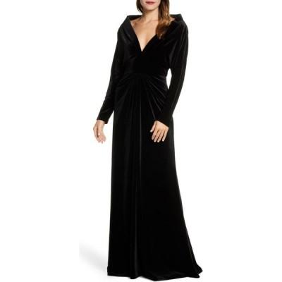 タダシショージ TADASHI SHOJI レディース パーティードレス ワンピース・ドレス Plunge Neck Long Sleeve Velvet Evening Gown Black