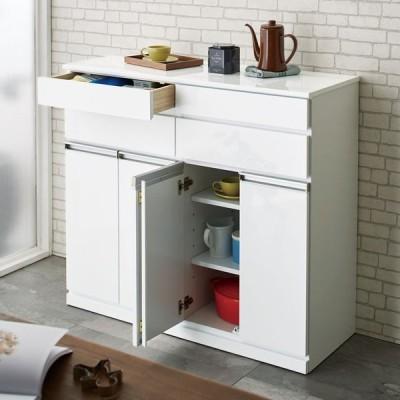 光沢仕上げ腰高カウンター収納シリーズ キッチン収納庫 幅109.5cm 509706