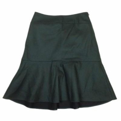 【中古】ボールジー BALLSEY トゥモローランド マーメイドスカート フレア ショート丈 ミニ ウール 34 ダークグリーン