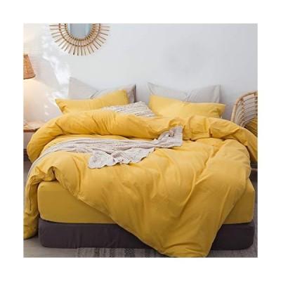 MooMee 無地寝具布団カバーセット (掛け布団カバー1枚 + 枕カバー2枚) 100% ウォッシュ加工コットンリネンのような質感 通気性 耐久性