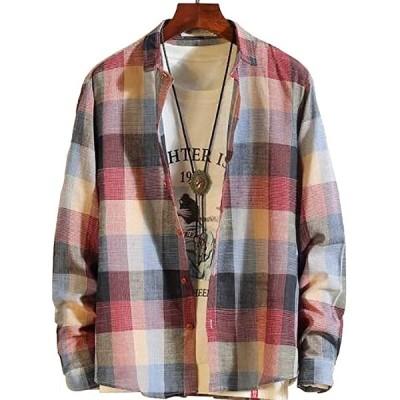 エンプティオ 長袖 チェック柄 シャツ メンズ ロングスリーブ ナガソデ ながそで 長そで 袖あり そであり ドライ(レッド, M)