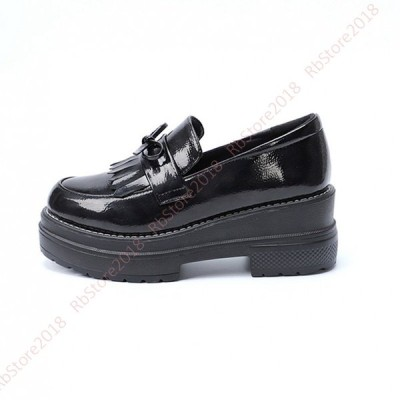 ローファー 学生 厚底 レディース 歩きやすい 6cm ヒール ラウンドトゥ エナメル パンプス 女子 美脚 幅広 学生靴 大きいサイズ 小さいサイズ 疲れにくい